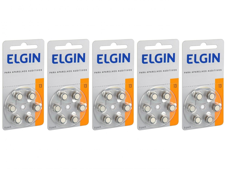 Kit Bateria para Aparelho Auditivo 13 PR48 Elgin - 30 Unidades