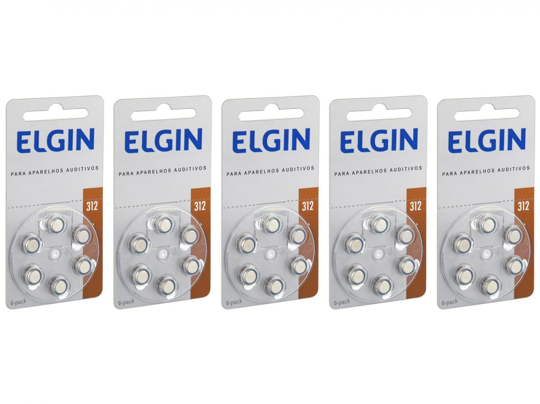 Kit Bateria para Aparelho Auditivo 312 PR41 Elgin - 30 Unidades