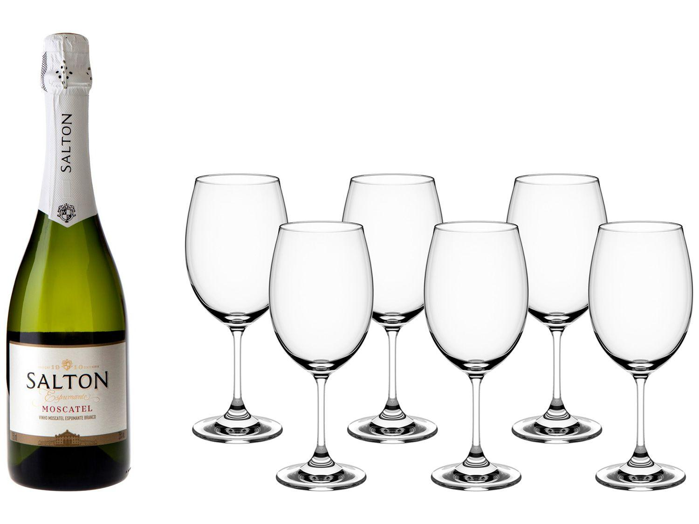 Espumante Branco Doce Salton Moscatel - 750ml + Jogo de Taças para Vinho Cristal 6 Peças