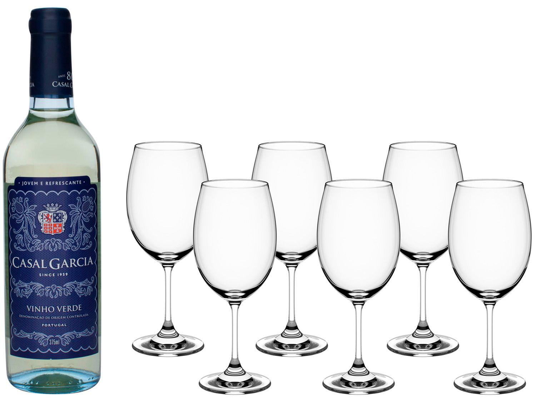 Vinho Branco Seco Casal Garcia 375ml - 375ml + Jogo de Taças Cristal 450ml 6 Peças