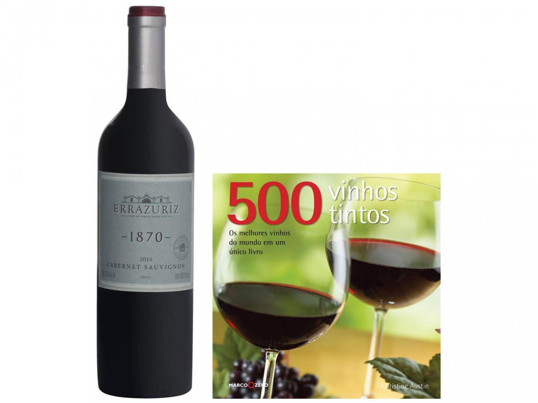 Kit Livro 500 Vinhos Tintos + Vinho Tinto Seco - Errazuriz 1870 Cabernet Sauvignon 750ml