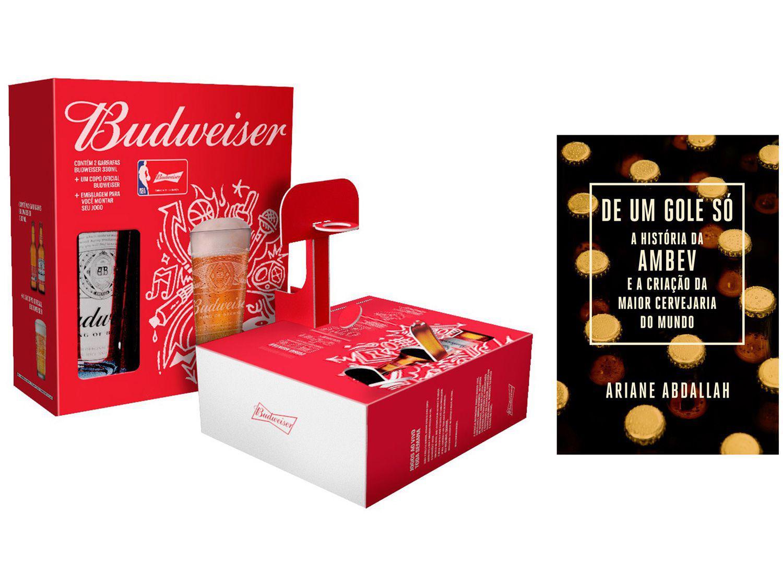 Kit Livro De um Gole Só A história da Ambev - Criação da Maior Cervejaria + Kit Budweiser