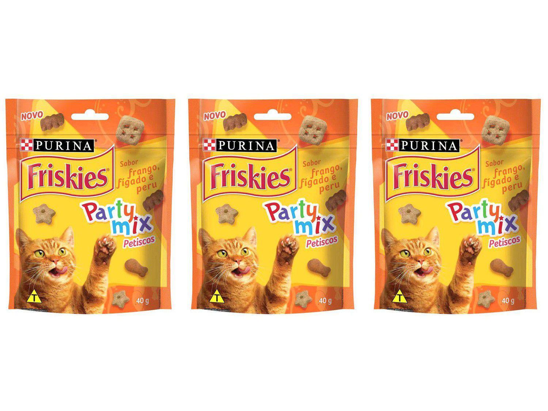 Kit 3 Unidades Petisco para Gato Adulto Friskies - Party Mix Frango Fígado e Peru 40g Cada
