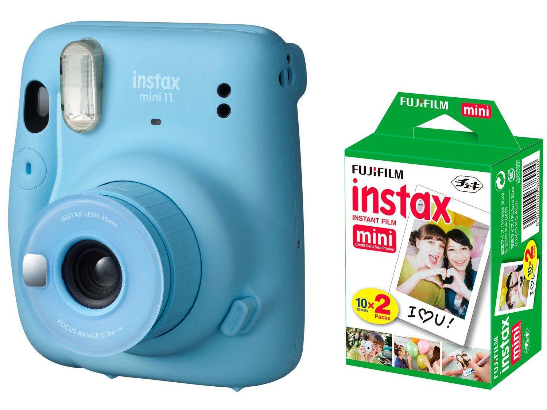 Instax Mini 11 Fujifilm Azul Flash - Automático + Filme Instantâneo Fujifilm 20 Poses