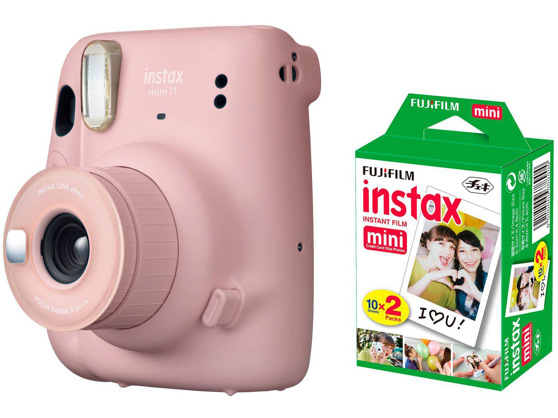 Instax Mini 11 Fujifilm Rosa Flash - Automático + Filme Instantâneo Fujifilm 20 Poses