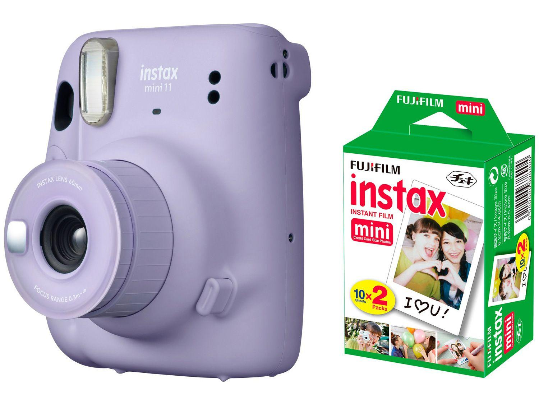 Instax Mini 11 Fujifilm Lilás Flash - Automático + Filme Instantâneo Fujifilm 20 Poses