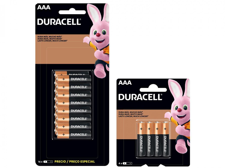 Pilha AAA Palito Alcalina 16 Unidades - Duracell + Pilha AAA Palito Alcalina 4 Unidades