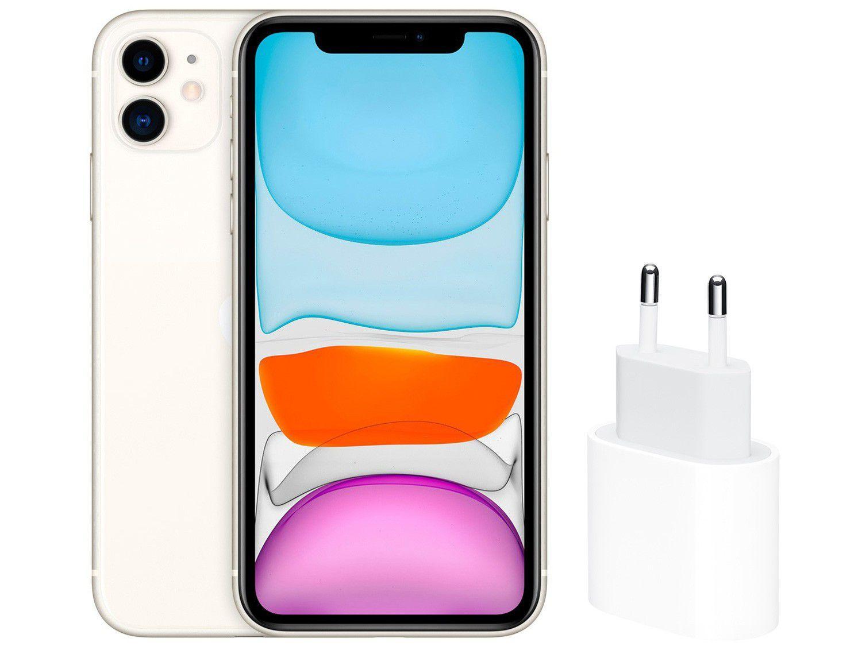 """iPhone 11 Apple 256GB Branco 6,1"""" 12MP - iOS + Carregador USB-C de 20W Apple Branco"""