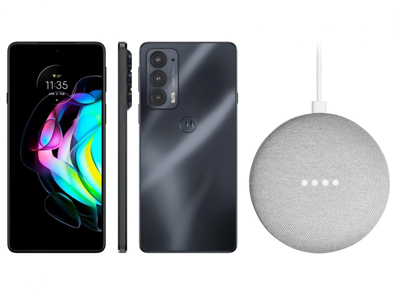Smartphone Motorola Edge 20 128GB Preto - 5G 8GB RAM + Nest Mini 2ª geração Smart Speaker