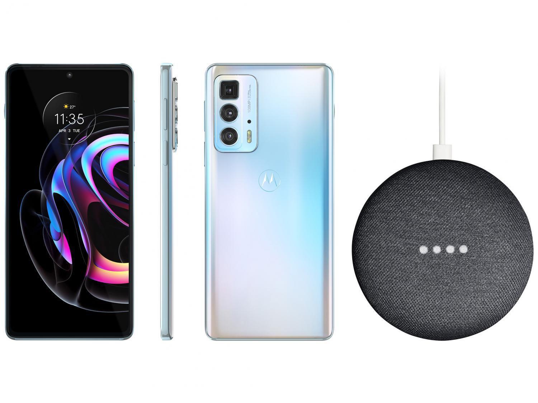 Smartphone Motorola Edge 20 Pro 256GB Branco 5G - 12GB RAM + Nest Mini 2ª geração Smart Speaker