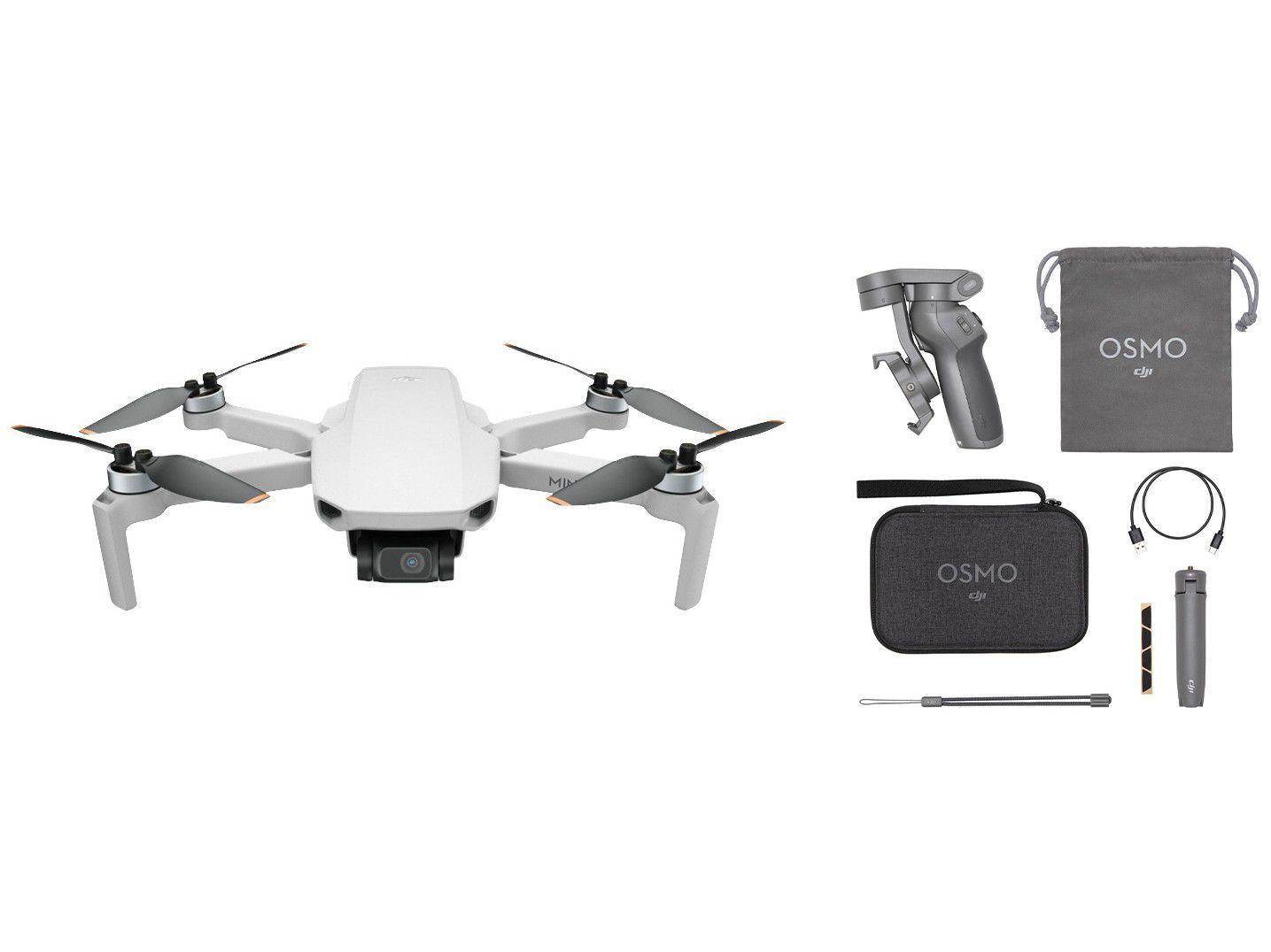 Estabilizador para Câmera Bluetooth com Tripé - DJI + Drone DJI Mini SE Fly More Combo com Câmera