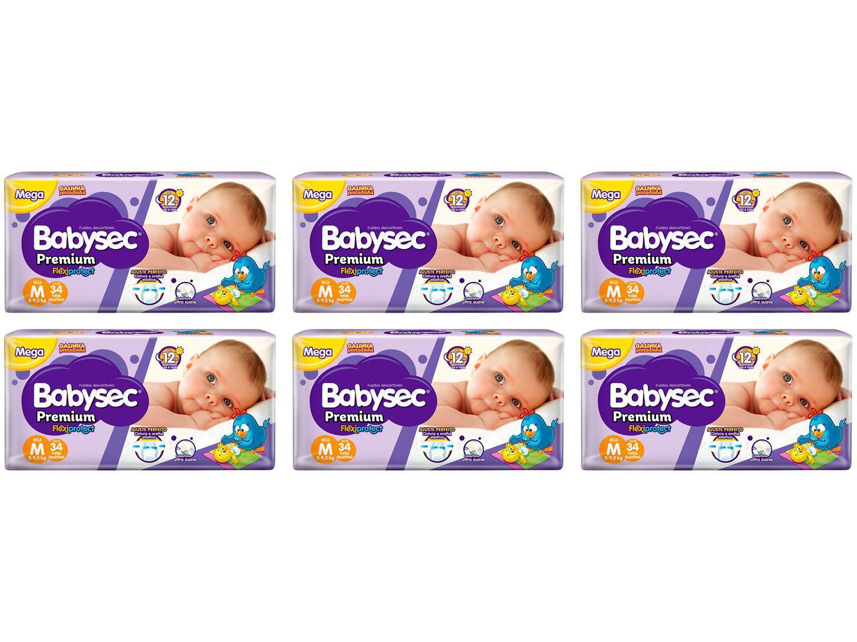 Fralda Babysec Premium Galinha Pintadinha - Tam. M 5 a 9,5kg 6 Pacotes com 34 Unidades Cada