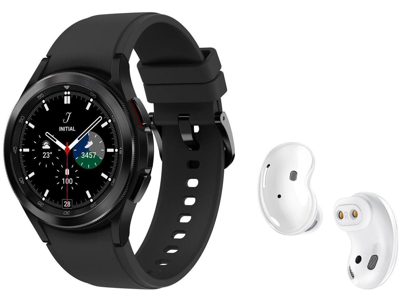 Smartwatch Samsung Galaxy Watch4 Classic LTE - Preto 42mm + Fone de Ouvido Bluetooth Galaxy Buds