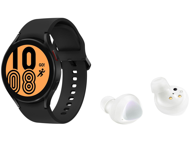 Smartwatch Samsung Galaxy Watch4 LTE Preto - 44mm + Fone de Ouvido Bluetooth Galaxy Buds+
