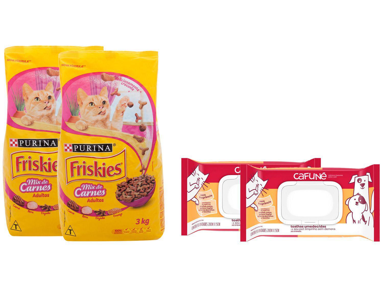 Kit Ração de Gato Friskies Carnes 3kg 2 Unidades - + Lenço Umedecido Cafuné 100 Unidades Cafuné