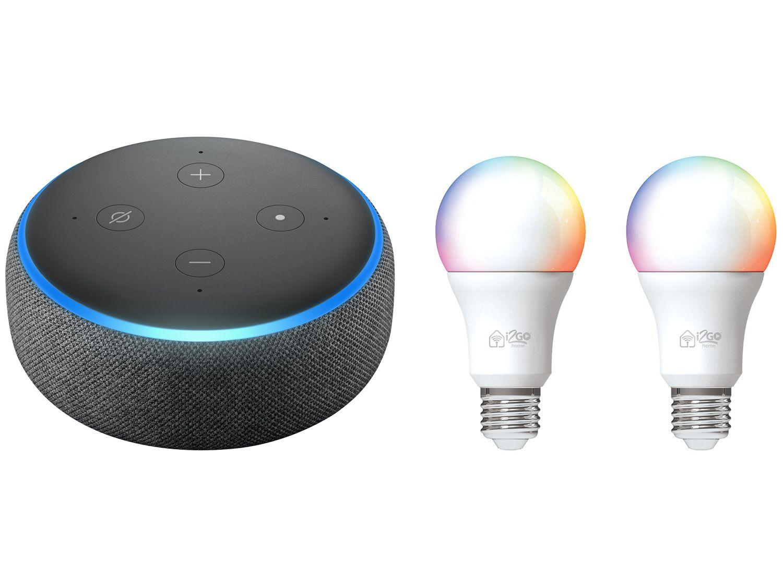 Echo Dot 3ª Geração Smart Speaker com Alexa - Amazon + 2 Lâmpadas Inteligentes I2GO Wi-Fi 10W
