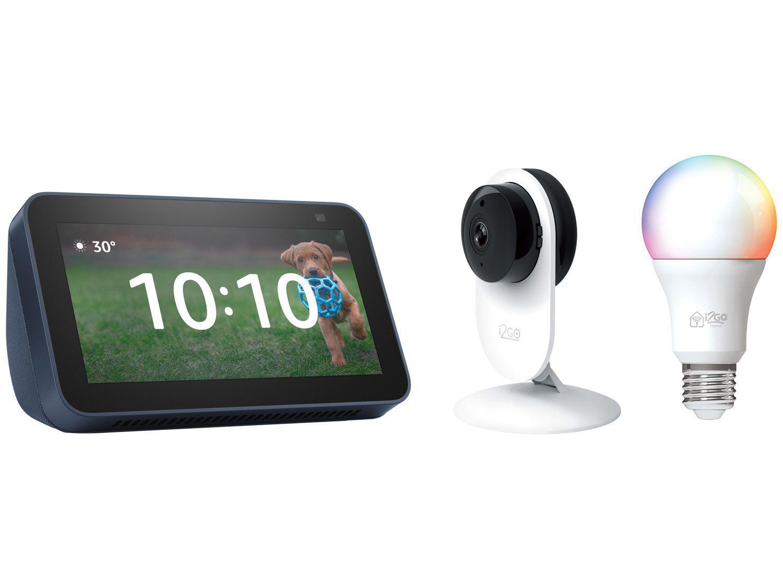 Echo Show 5 Smart Speaker com Alexa + Câmera de - Segurança I2GO HD + Lâmpada Inteligente I2GO 10W