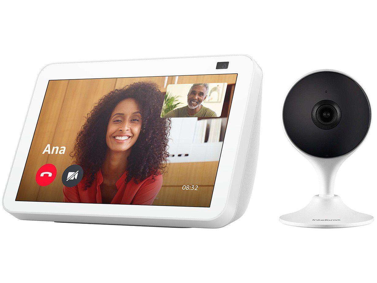 """Echo Show 8 Smart Speaker 8"""" com Alexa + Câmera - de Segurança Inteligente Wi-Fi Intelbras Full HD"""