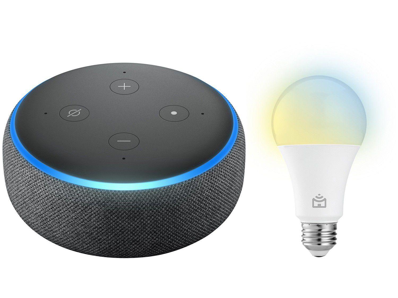 Echo Dot 3ª Geração Smart Speaker com Alexa - Amazon + Lâmpada Inteligente Positivo Home LED 9W