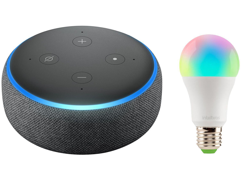 Echo Dot 3ª Geração Smart Speaker com Alexa - Amazon + Lâmpada Inteligente Intelbras RGB 10W