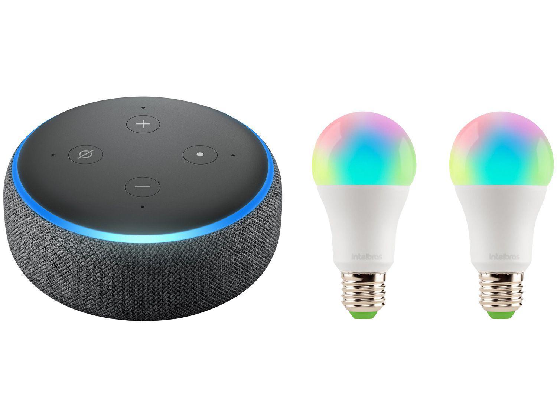 Echo Dot 3ª Geração Smart Speaker com Alexa - Amazon + 2 Lâmpadas Inteligentes Intelbras RGB 10W
