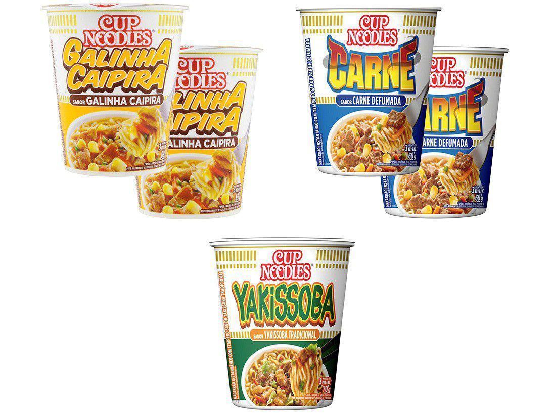 Kit Macarrão Instantâneo Cup Noodles 5 Unidades - com 3 Sabores