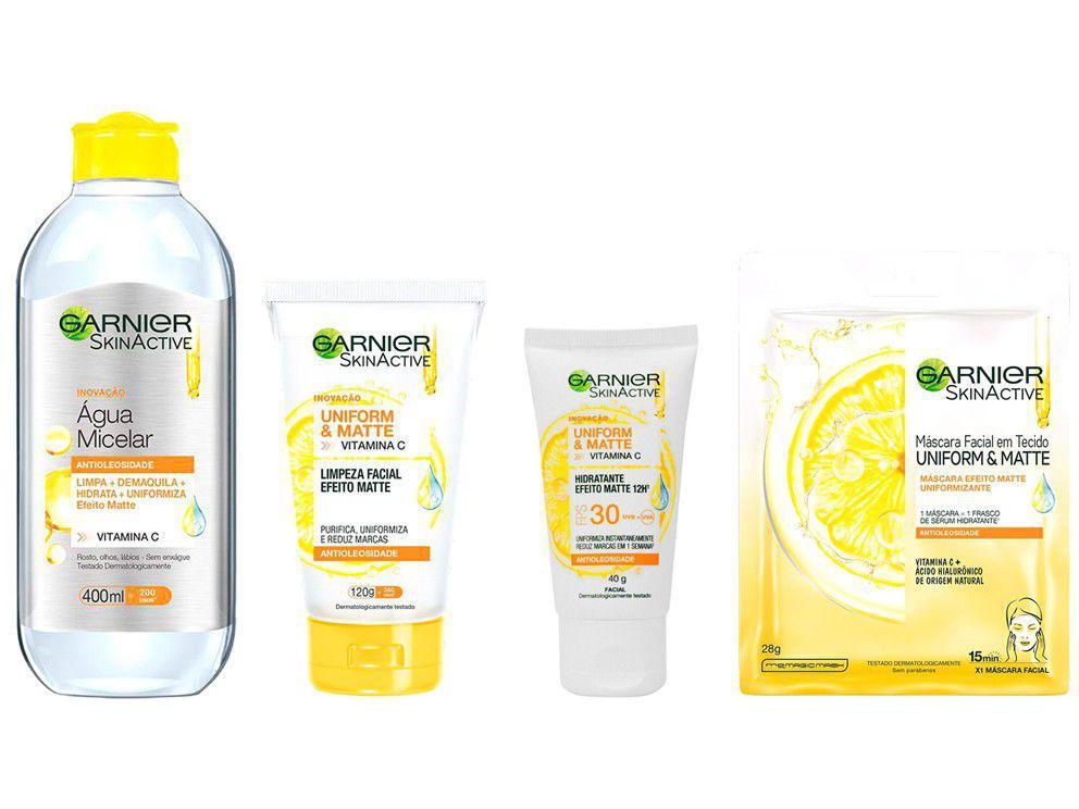 Água Micelar Garnier + Sabonete Facial Skin - Active + Creme Hidratante Facial + Máscara Facial