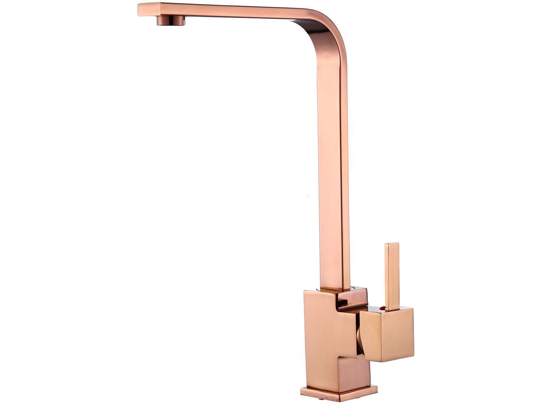 Torneira de Mesa para Cozinha Monocomando Nell - Luxo YL-05 Bica Alta Rosê Gold