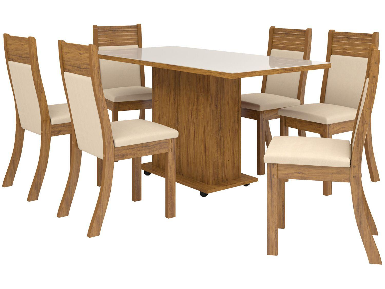 Mesa de Jantar 6 Cadeiras Retangular - Viero Móveis Alhandra Roma