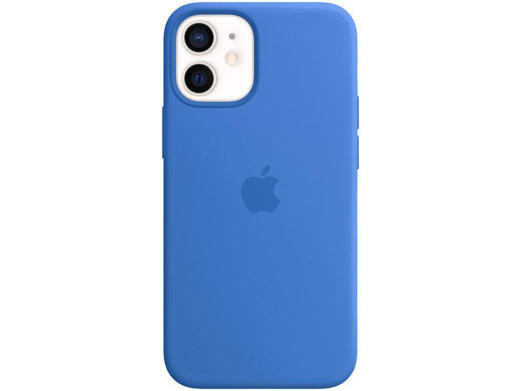 Capa Silicone com MagSafe Azul Capri - para iPhone 12 Mini Original