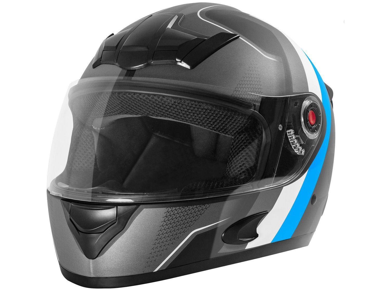 Capacete de Moto Fechado Mixs Helmets - MX5 Super Speed Cinza e Azul Tamanho 58