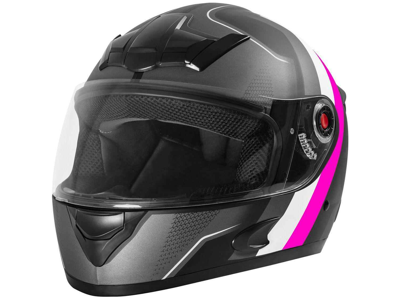 Capacete de Moto Fechado Mixs Helmets - MX5 Super Speed Cinza e Rosa Tamanho 58