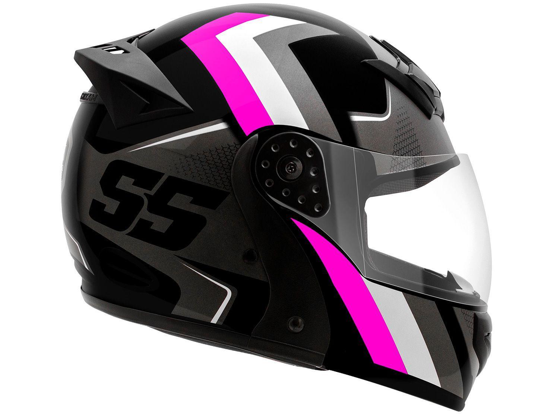 Capacete de Moto Articulado Mixs Helmets - Gladiator Super Speed Cinza e Rosa Tamanho 60