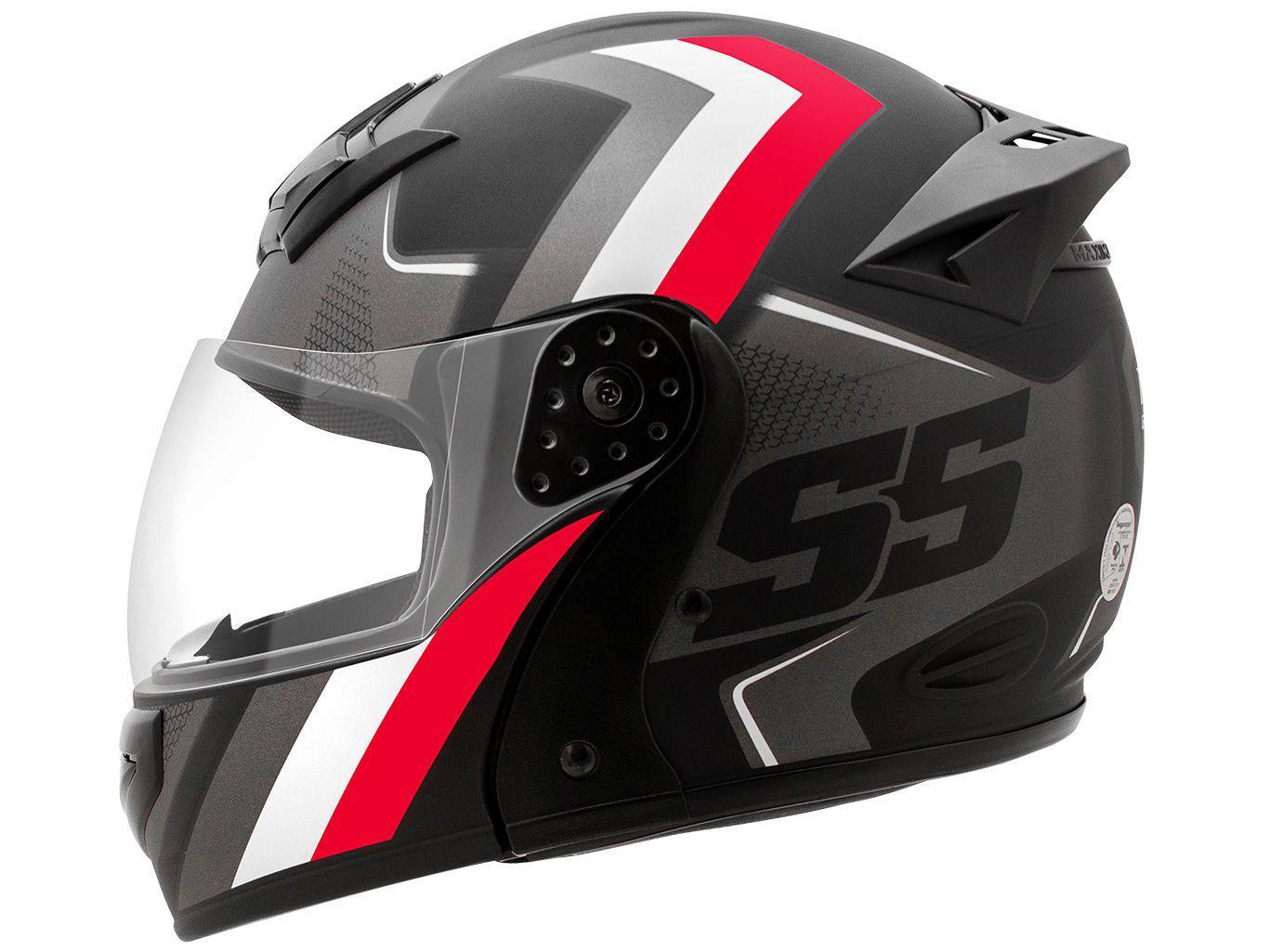 Capacete de Moto Articulado Mixs Helmets - Gladiator Super Speed Cinza e Vermelho Tamanho 56