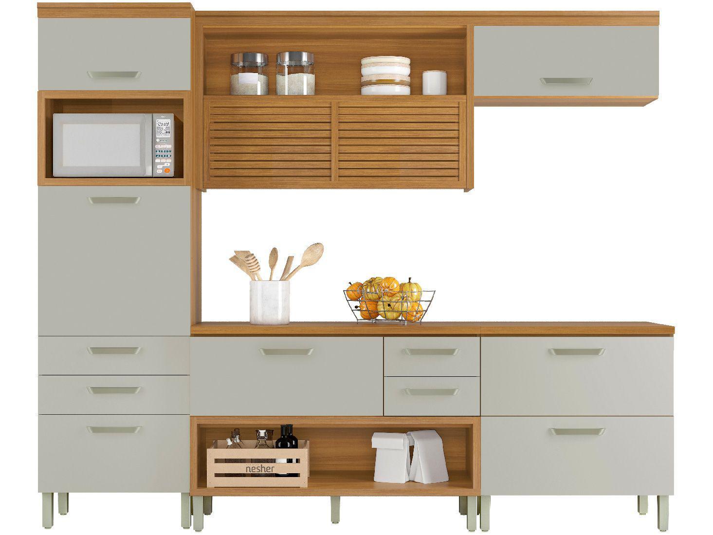 Cozinha Completa Cozinhas Nesher Princesa - com Balcão Nicho para Micro-ondas 6 Portas