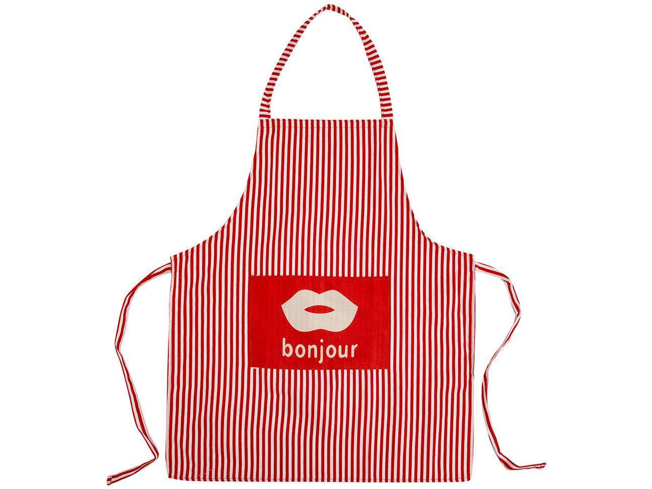 Avental de Cozinha com Bolso Jolitex Ternille - Design Bonjour Listrado Vermelho e Branco