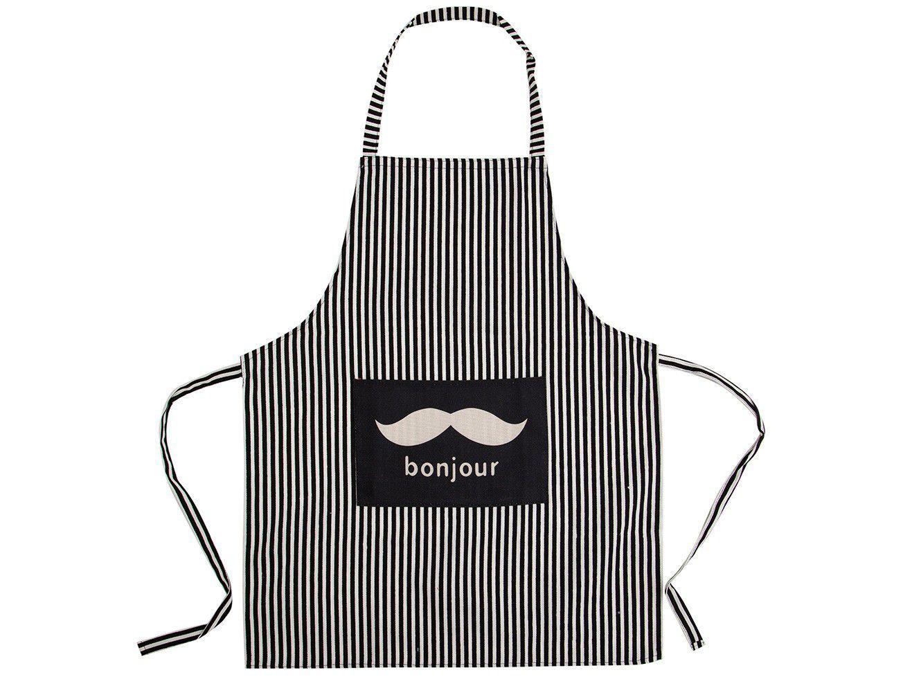 Avental de Cozinha com Bolso Jolitex Ternille - Design Bonjour Listrado Preto e Branco