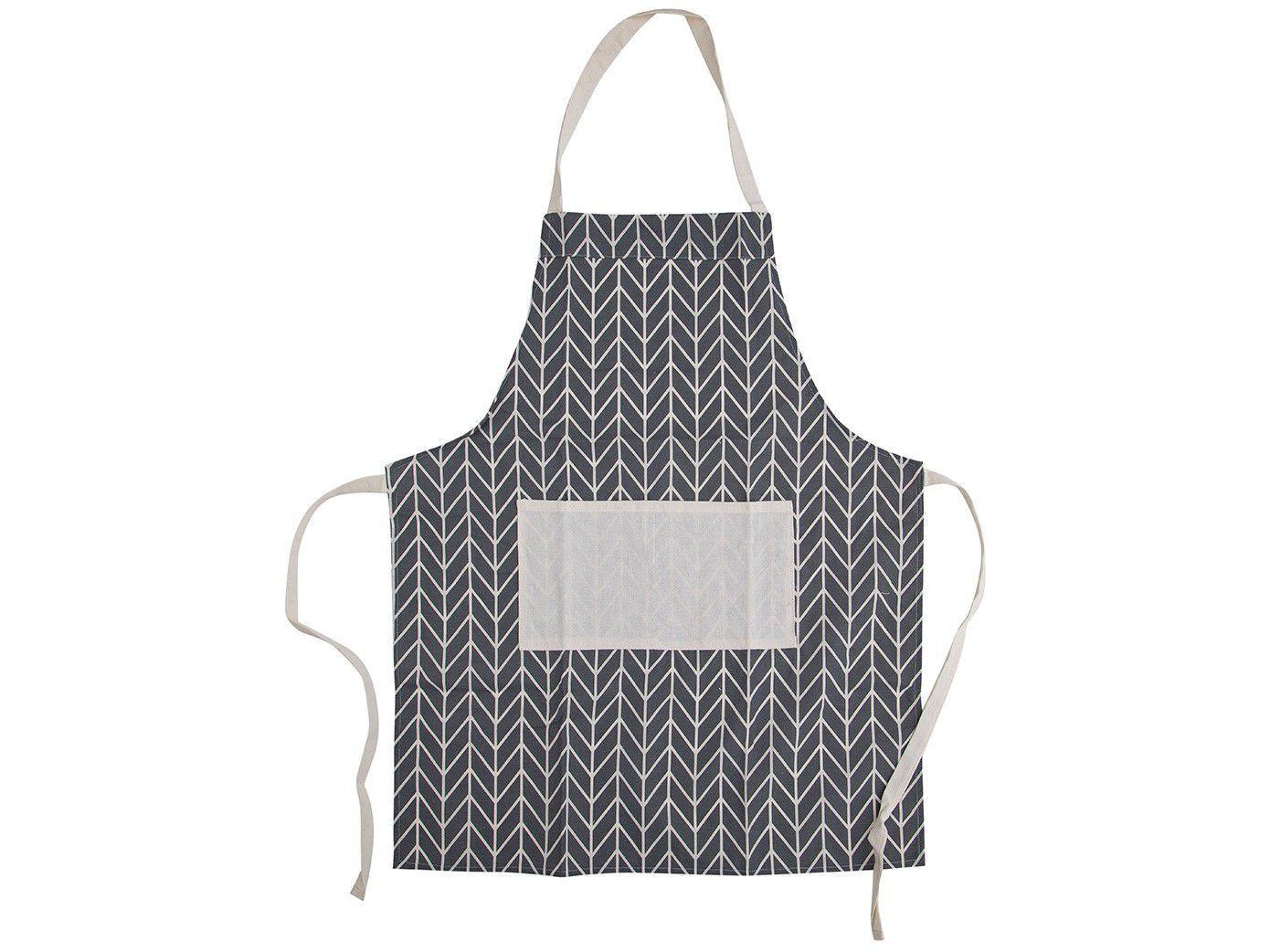 Avental de Cozinha com Bolso Jolitex Ternille - Design Merci Geométrico Cinza e Branco