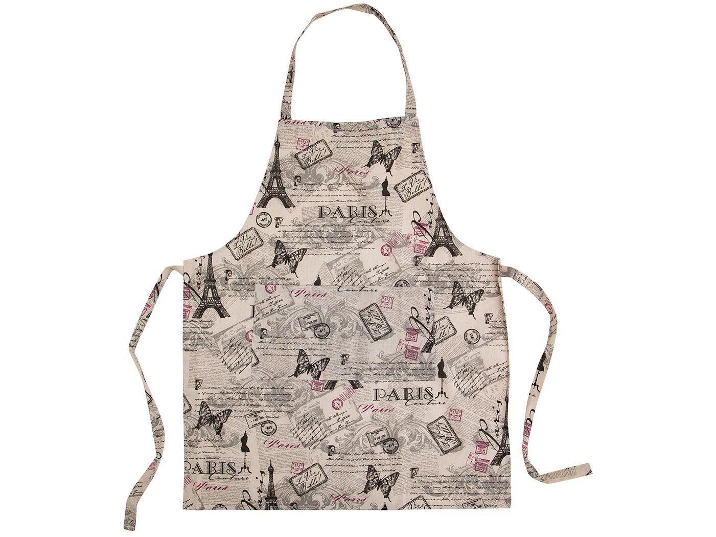Avental de Cozinha com Bolso Jolitex Ternille - Design Paris Paisagem Bege
