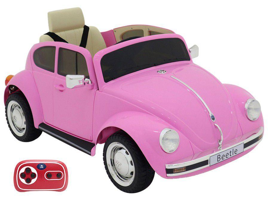 Carro Elétrico Infantil Rosa Volkswagen Beetle - Bel Fix 12V com Controle Remoto 2 Marchas