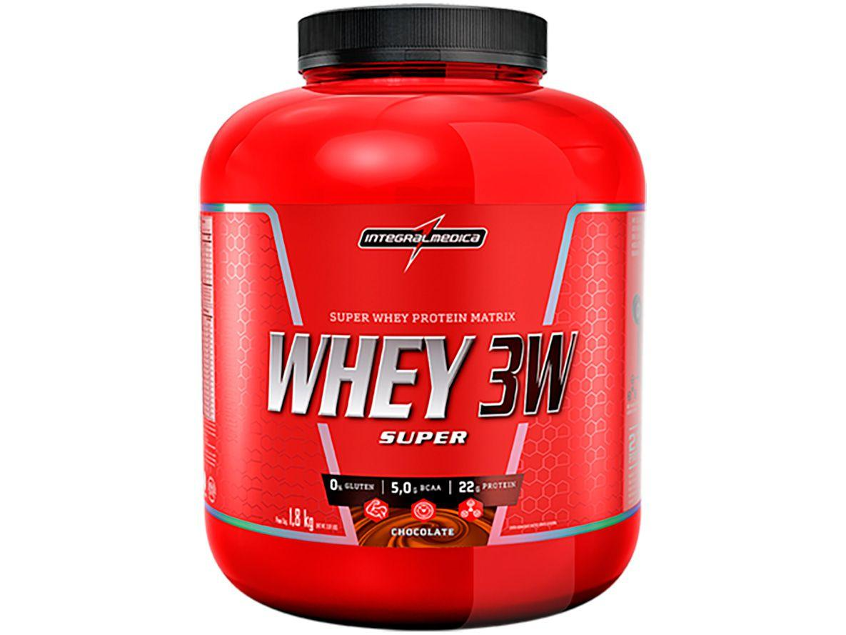 Whey Protein Concentrado Isolado Hidrolisado - Integralmédica 3W Super 1,8kg Chocolate sem Açúcar