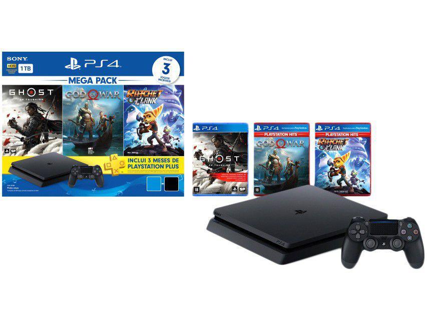 PlayStation 4 Mega Pack V18 2021 1TB 1 Controle - Preto Sony com 3 Jogos na Memória Voucher 3 Meses