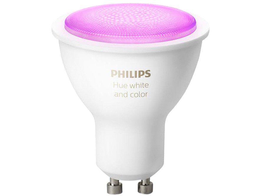 Lâmpada Inteligente Philips Hue GU10 RGB - Dimerizável 5,7W compatível com Alexa