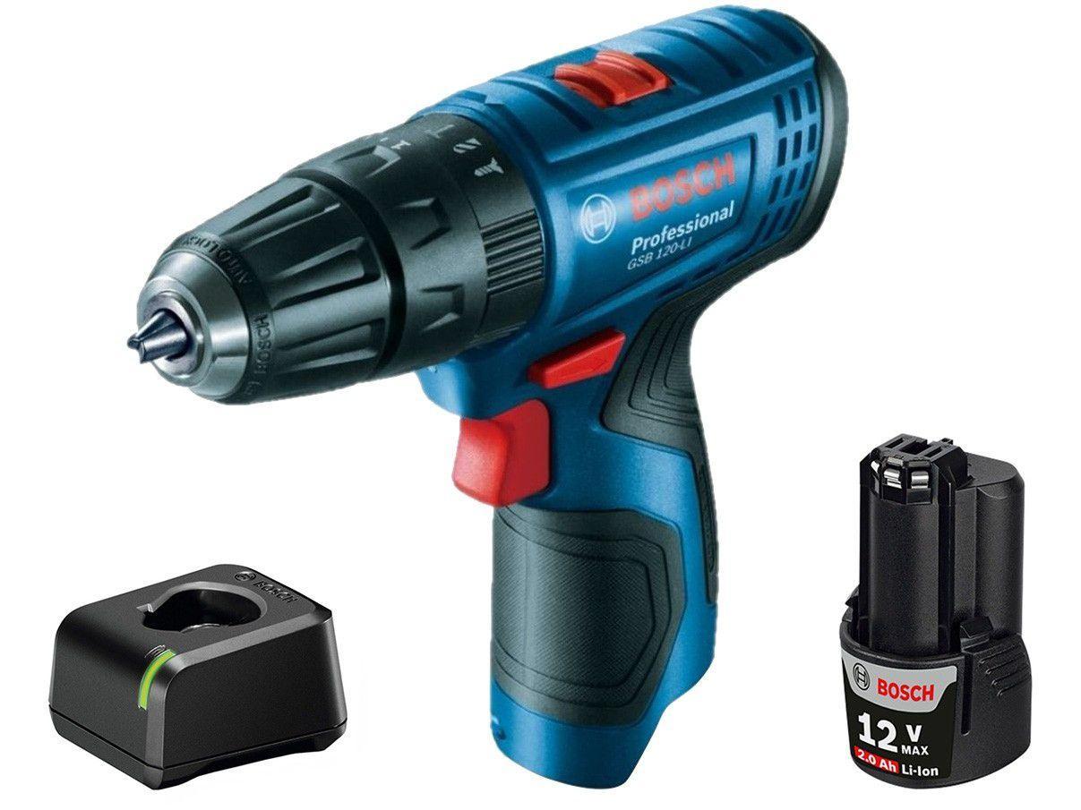 """Furadeira e Parafusadeira a Bateria de Impacto - Bosch 12V Velocidade Variável 3/8"""" Professional"""