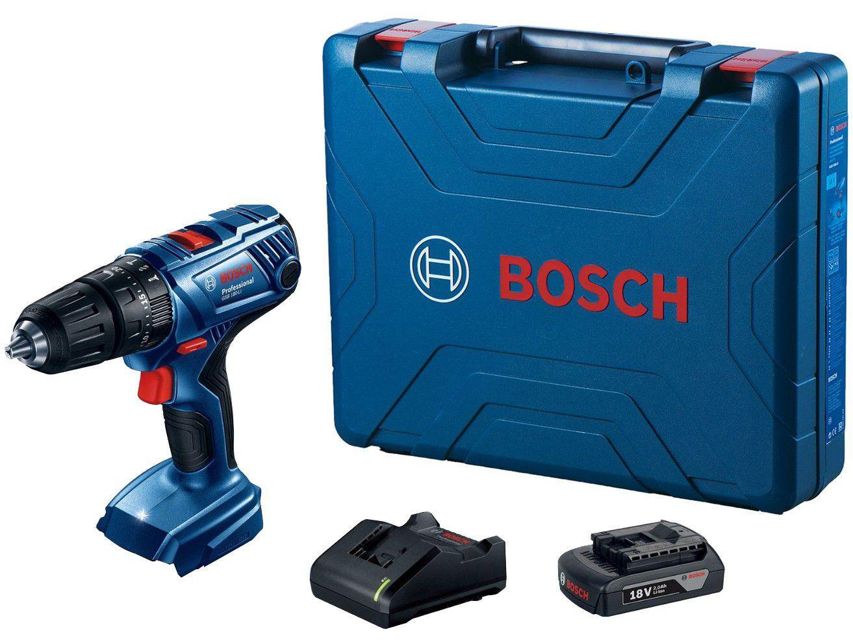 """Furadeira e Parafusadeira a Bateria de Impacto - Bosch 18V Velocidade Variável e Reversível 1/2"""""""