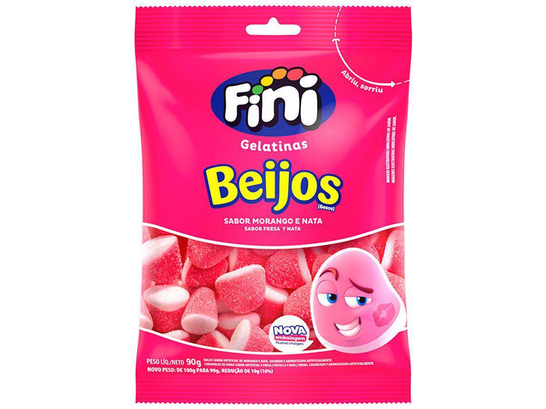 Bala de Gelatina Fini Beijos de Morango e Nata - 90g Pacote