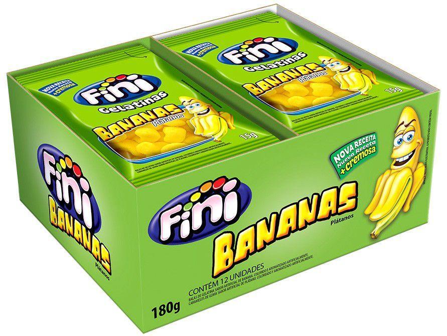 Bala de Gelatina Fini Bananas 15g Pacote - 12 Unidades