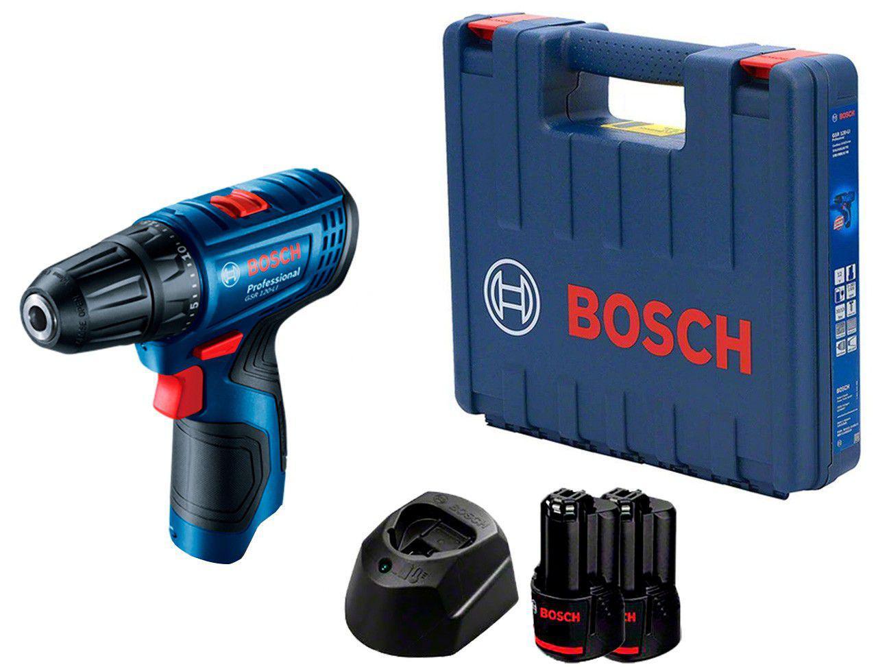 """Parafusadeira Bosch a Bateria 12V 3/8"""" - Velocidade Variável com Maleta 5 Peças"""