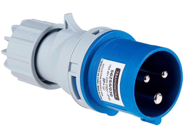 Plug Móvel Industrial 2P+T 16A 220-250V - 6h Tramontina Eletrik