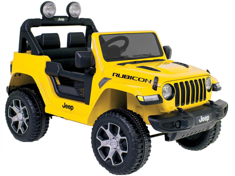 Jeep Elétrico Infantil Amarelo Bandeirante - Jeep Wrang com Controle Remoto 2 Marchas